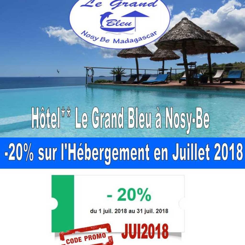 Hôtel Le Grand Bleu à Nosy-Be : promo en juillet !